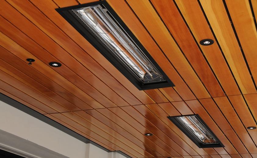 Chauffe-terrasse Infratech infrarouge encastré disponible chez Ladouceur paysagiste